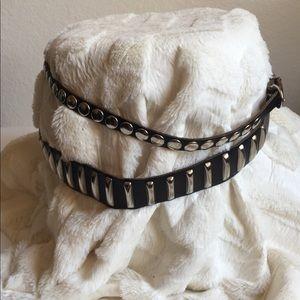 Ann Taylor black studded leather wrap around belt